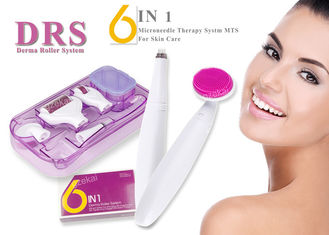 China 6 In 1 Micro Derma Roller DRS With Silicone Facial Cleaning Brush Massager Microneedle supplier